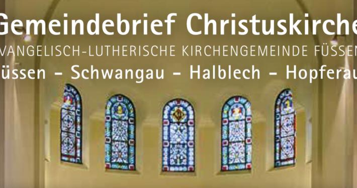 Ausschnitt aus dem Cover des Gemeindebriefs mit Chorfenstern der Christuskirche Füssen